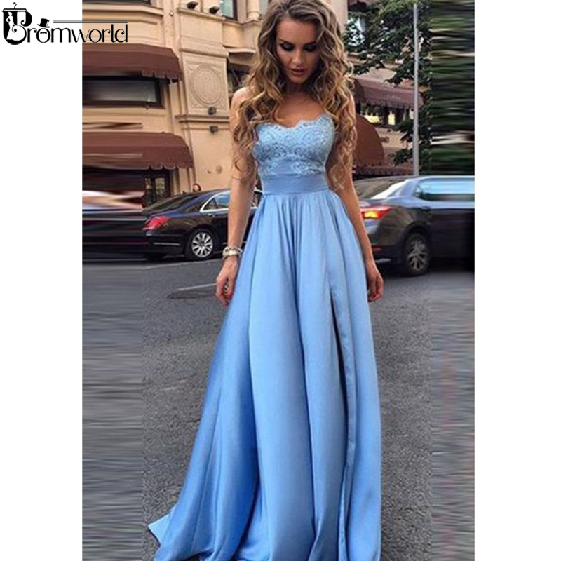 Light Blue Prom Dresses 2019 A Line Spaghetti Straps Lace Satin Party Maxys High Split Long Prom Gown Mint Evening Dress