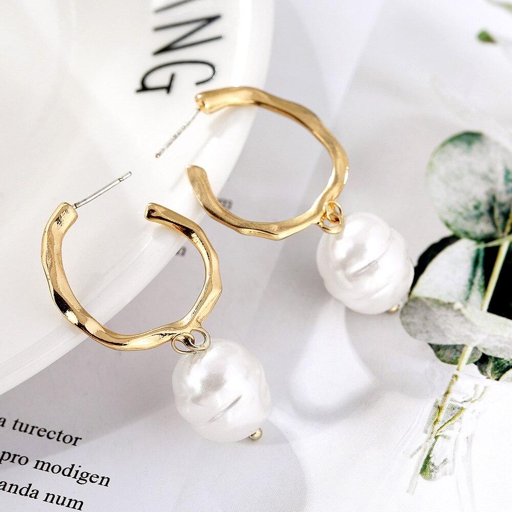 Irregular Pearl Earrings Fashion Jewelry 2019 Vintage Freshwater Pearls Drop Dangle Earrings DIY Wedding Jewllery Gift