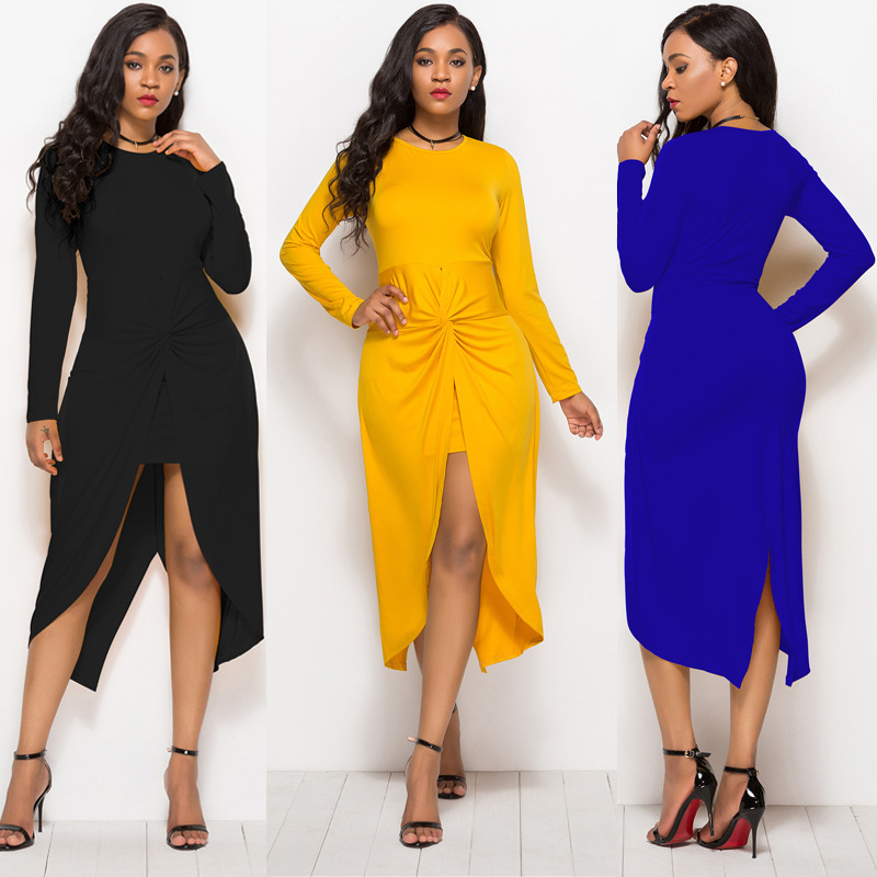 Fold Casual Solid Dress Women Elegant Slim Bodycon Swallowtail Swallow Tail Dress Long Sleeve O Neck Vintage Midi Dress Vestidos