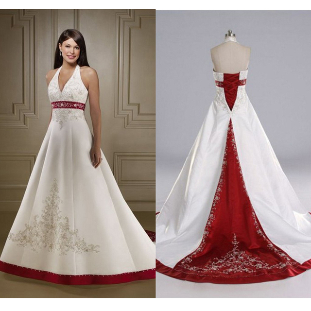 5da48aa860 Hot Red and White Wedding Dresses 2017 Halter Neckline Satin Embroidery Wedding  Gowns Beaded Backless Plus Size Wedding Dress