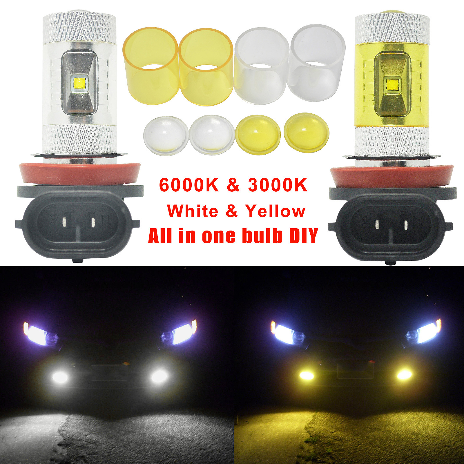 2pcs Car H8 H11 30W Dual Color Car LED Projector Fog Driving Lights White Yellow Lamp mp620 mp622 mp625 projector color wheel mp620 mp622 mp625