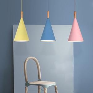 Image 2 - Nordic Minimalist droplight E27 Wooden pendant light Colorful lamp Home decor lighting lamp Dinning room Bar Showcase spot light