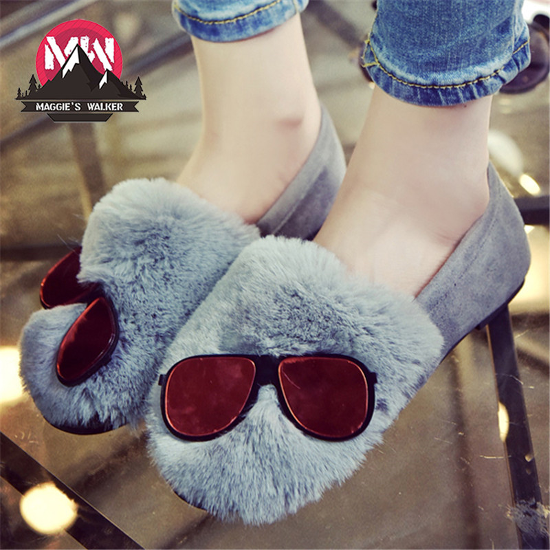 Women Casual Shoes Slip on Rubber Loafers Flat Platform Round Toe Fashion Real Rabbit Fur Shoes Size 35~39 size 35 39 pointy toe flat platform shoes pigskin leather shoes black white color slip on women s shoes