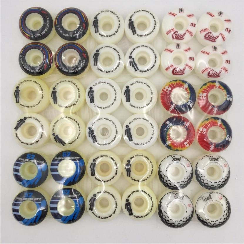 Girl Element 4pcs Skateboard Wheels 51 52 53 54mm Wheels for Double Rocker Skateboard Deck with