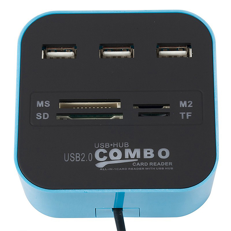 Image 2 - Memery Cards Reading Device USB 2.0 Combo Adapter for Micro SD SDHC TF M2 MMC MS PRO DUO Card Reader USB Splitter HUB for PC-in Card Readers from Computer & Office