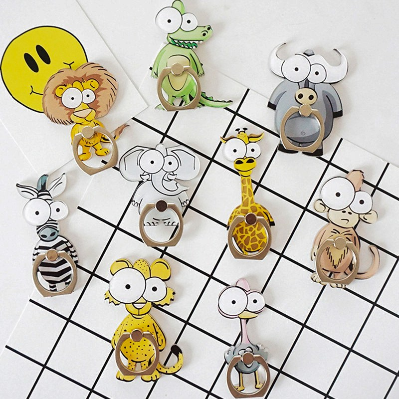 Universal Cartoon Animal Finger Ring Mobile Phone Holder Phone Ring Metal Stand Holder For Iphone