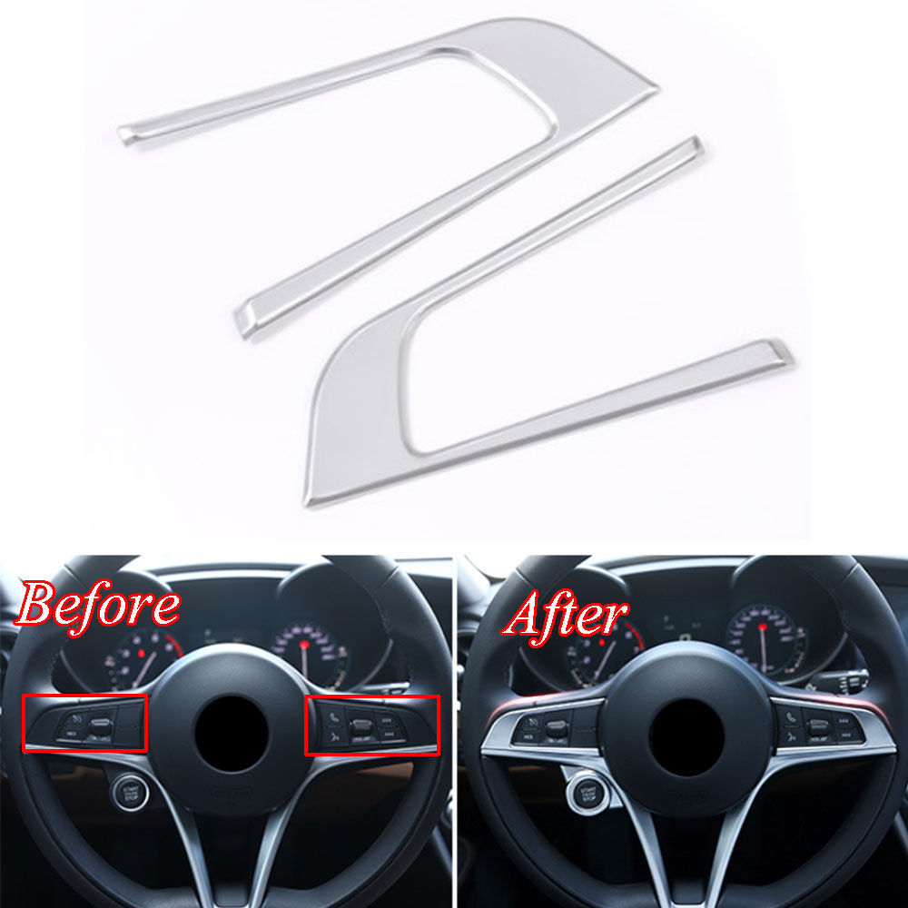 2pcs/set Car Interior ABS Steering Wheel Button Switch Frame Cover Trim Decal For Alfa Romeo Giulia 2017 Car Styling Accessory