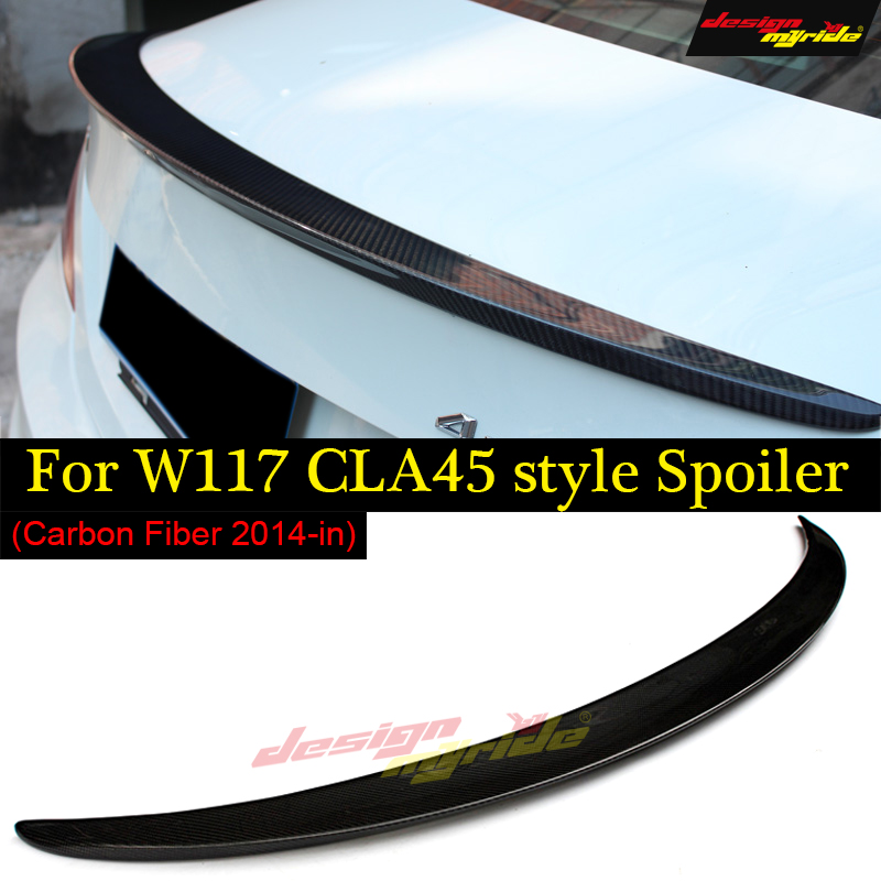 For Mercedes CLA W117 C117 X117 Rear Trunk High Kick <font><b>Spoiler</b></font> Duckbill Wing For AMG Style Carbon Fiber No Drill CLA180 <font><b>CLA200</b></font> 13- image