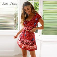 WildPinky Lace-Up Women Boho Summer Dresses Bandage Bodycon Short Mini Dress Hot Sale Ladies Floral Printed Dress empire Vestido lace insert draped mini bodycon dress
