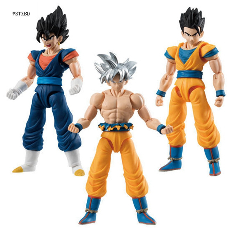 WSTXBD 3PCS/Set BANDAI Dragon Ball Z DBZ Blue Vegeta Gohan Goku UI Ultra Instinct PVC Figure Toys Figurals Model Dolls new original dragon ball z dbz blue god vegetto final pvc figure toys figurals model kids dolls