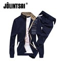 Jolintsai 2017 Men Sportwear Suit Stand Collar Hoodies Men Sweat Suit Casual Print Tracksuit Streetwear Sweatshirt Pant Set