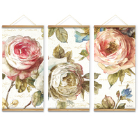 Big Size 3Pcs Set Pink Flowers Rose Decoration Wall Art Pictures Canvas Wooden Scroll Paintings For