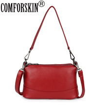 COMFORSKIN Luxurious Three Zipper Compartment Handbags New Arrivals Large Capacity Women Bag Cowhide Leather Messenger