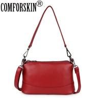 COMFORSKIN Luxurious Three Zipper Compartment Handbags New Arrivals Large Capacity Women Bag Cowhide Leather Women Messenger Bag