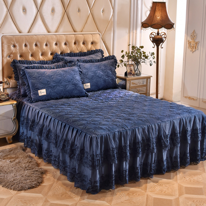 3/5-Pieces Lace Fleece Quilted 160X200cm Bedskirt Ultra Soft Warm Red Blue Bedding Set Bed cover set  Bedspread set Pillow shams3/5-Pieces Lace Fleece Quilted 160X200cm Bedskirt Ultra Soft Warm Red Blue Bedding Set Bed cover set  Bedspread set Pillow shams