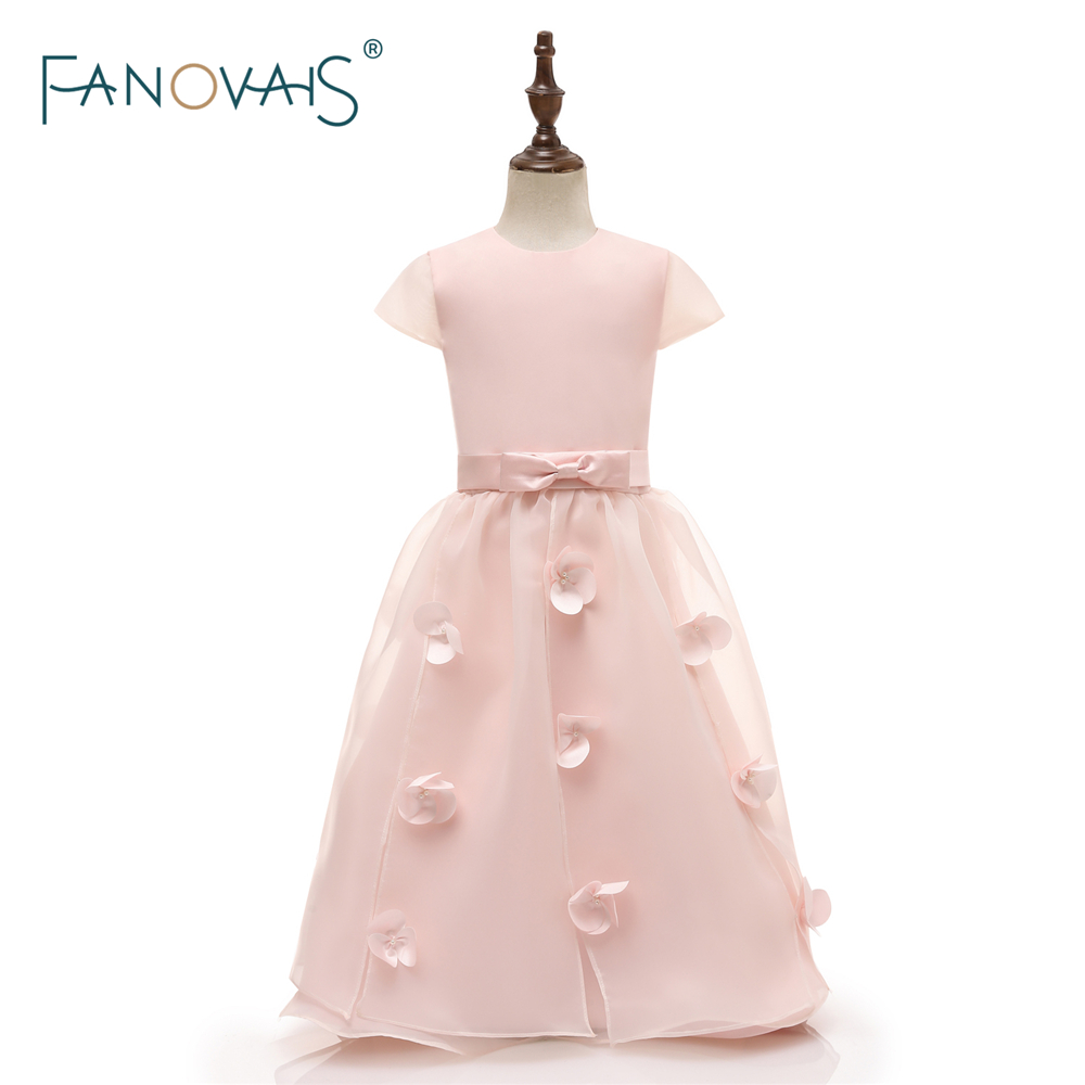 2018   Flower     Girl     Dresses   2018 for Wedding Pink   Girl   Party   Dress   Organza Communion   Dresses   Pageant Gown vestido de daminha FL5