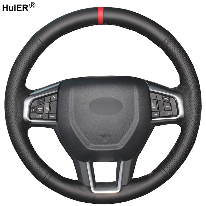 HuiER Hand Sewing Car Steering Wheel Cover Red Marker For Land Rover Discovery Sport 2015 2016 2017 2018 Automobile Protector