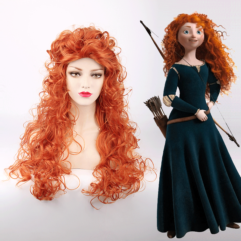 high quality GIRL Movie Brave Long Curly Princess Merida Cosplay Wig for Cosplay orange hair with hair net