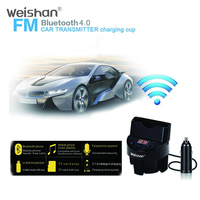 WEISHAN Bluetooth Car Kit MP3 Player Hands Free Call Wireless FM Transmitter Car Charger Card For