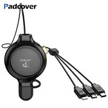 PADCOVER 3 in 1 retractable USB Cable For iPhone XS XR Max Type C Micro Xiaomi Huawei Charger