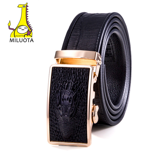2016 Men`s Leather Belt Sliding Buckle Brand Ratchet Belts Fashion Crocodile Automatic Buckle Strap MU047