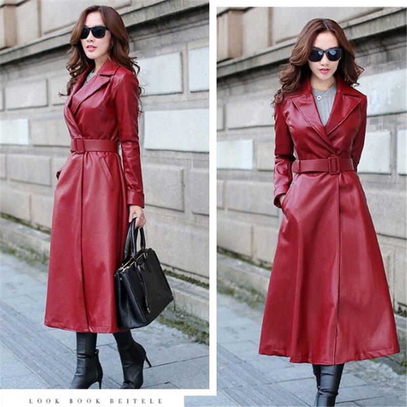 Mantel Frauen Graben Lange red Maxi Sobretudo Qualität Plus Leder Herbst Black Hohe Frau A1461 Pu Feminino Schwarz tcTqqpSaw1