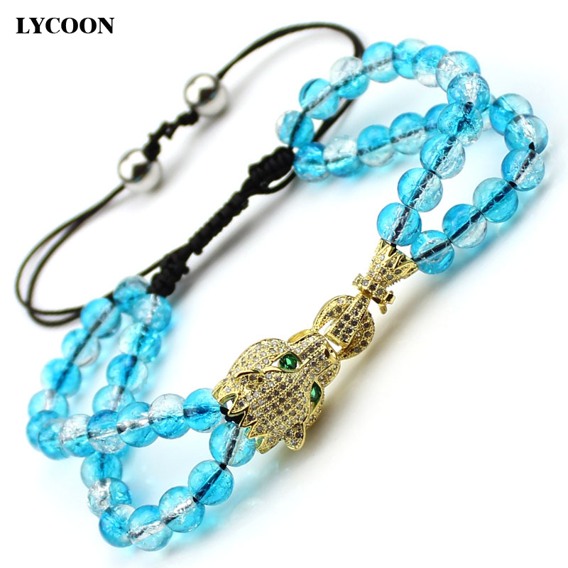 Newest Fashion Round Crystal Beads Bracelets Casting Leopard Prong Setting White AAA Cubic Zirconia Strand Bracelets