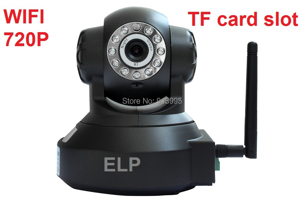 ФОТО H.264 HD 720P indoor ir night vision Robot Rotate wireless cctv ip camera wifi security with TF card slot , with power adapter