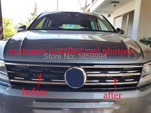 Image 3 - refit front hood billet grille grill mesth horizontal sticker style FOR 2018 2019 2020 VW TIGUAN mk2 Europe version