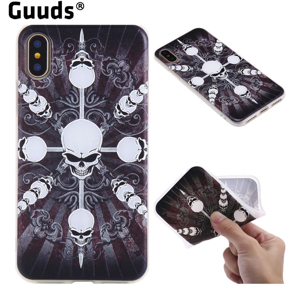 GUUDS for iPhone X Ten 10 8 7 Plus 6s 6 SE 5s Phone Coque Case 3D Relief Matte Soft TPU Back Cover for iPhone X(5.8 inch)