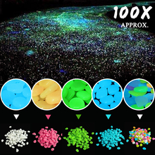 100Pcs Bright Luminous Light Emitting Artificial Fish Tank Dark Road Walkway DIY Decor Pebble Stones Garden Yard Courtyard Decor