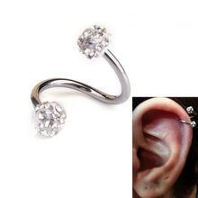 2016 Promotion Round Trendy Piercing Ombligo Crystal Stainless Steel Twist Ear Helix Cartilage Earring Stud Body Piercing Top(China)