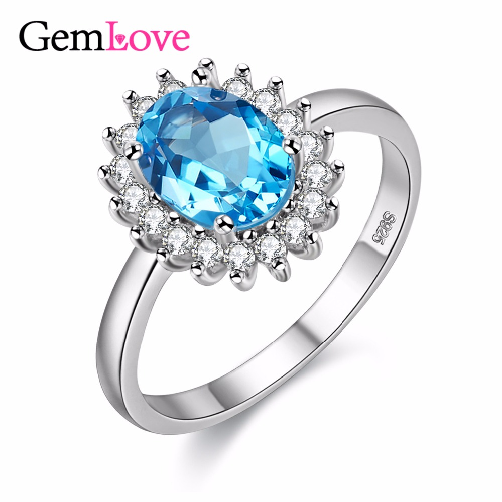 Gemlove Blue Gemstone Rings For Women 1ct Topaz 925 Sterling Silver Fine  Jewelry Natural Stones Ring With Box Ringen 40% Fj089