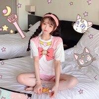 Super Cute Anime Sailor Moon Sweet Lolita Pajamas Suit Short Sleeve T shirt+Ruffle Shorts Set Japanese Kawaii Summer Sleepwear