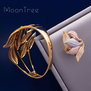 Image 5 - MoonTree Luxury SunFlower 3 Tone Full AAA Cubic Zirconia Wide Bracelet Bangle Ring Set Dress jewelry sets For women