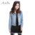 Artsu nuevo 2017 mujeres clothing chaquetas de mezclilla ocasional fresco jeans coat clásico chaquetas s-4xl más tamaño chaqueta femenina asco10017