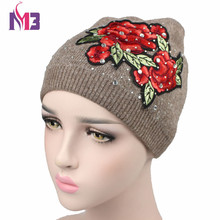 New Women Beanies Hat Knitted Cashmere Beanie Skullies Hats Casual Cap for Floral Rhinestone Shiny Girl Winter