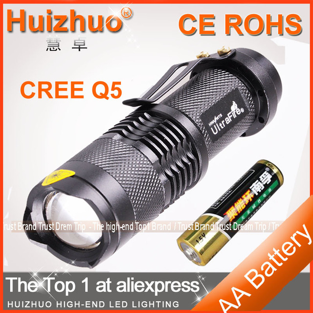 [Dream Trip]Free Shipping 7W 450lm CREE Mini LED Flashlight Zoomable LED Torch Light With AA Battery