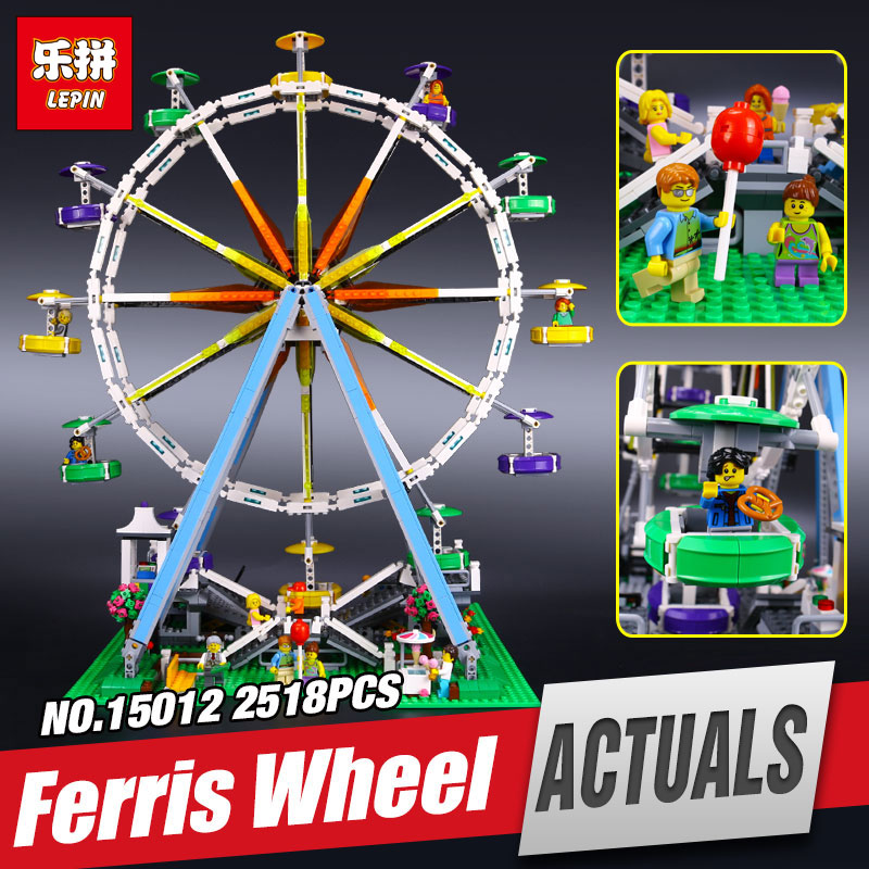 Фотография LEPIN 15012 series the Ferris Wheel model Educational building blocks set Classic compatble 10196 Architecture  Legom Toys
