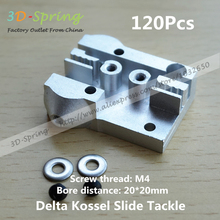 30Pcs Reprap Aluminum Alloy Delta Kossel Slide M4 Tackle Bore Distance 20*20 Moving Block For Closed Loop Belt 3D Printer Parts