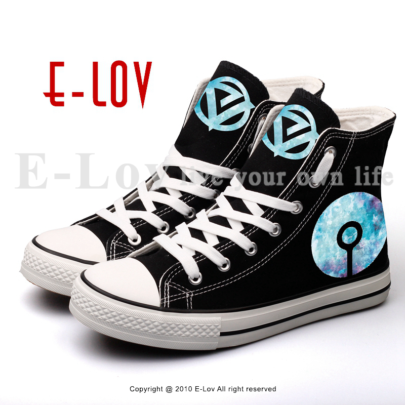 E-LOV High Top Printed DJ Music Black Canvas Shoes Hip Hop Rock Style Women Lace-up Casual Walking Shoe For Valentine Gifts printed assassins creed canvas shoes fashion design hip hop streetwear unisex casual shoes graffiti women flat shoe sapatos