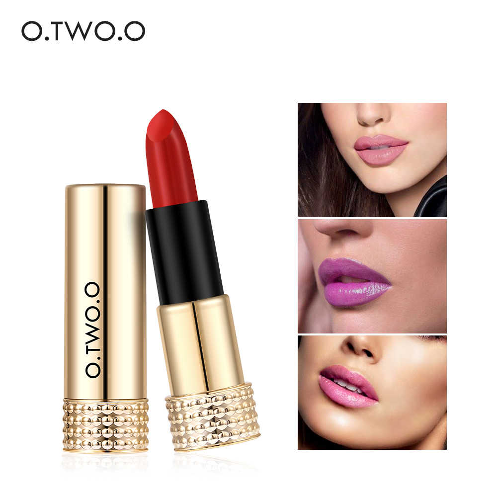 O.TWO.O Matte Lipstick Nude Long-lasting Easy to Wear Waterproof Baby Lip Balm Nude Cosmetic Gold Brands Makeup Lips 12 Colors