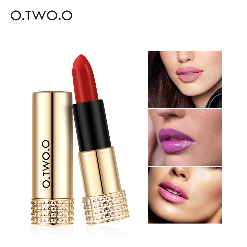 O.TWO.O Matte Lipstick Nude Long-lasting Easy to Wear Waterproof Baby Lip Balm Nude Cosmetic Gold Brands Makeup Lips 12 Colors nyx simply nude lip cream sn04 цвет 04 fairest