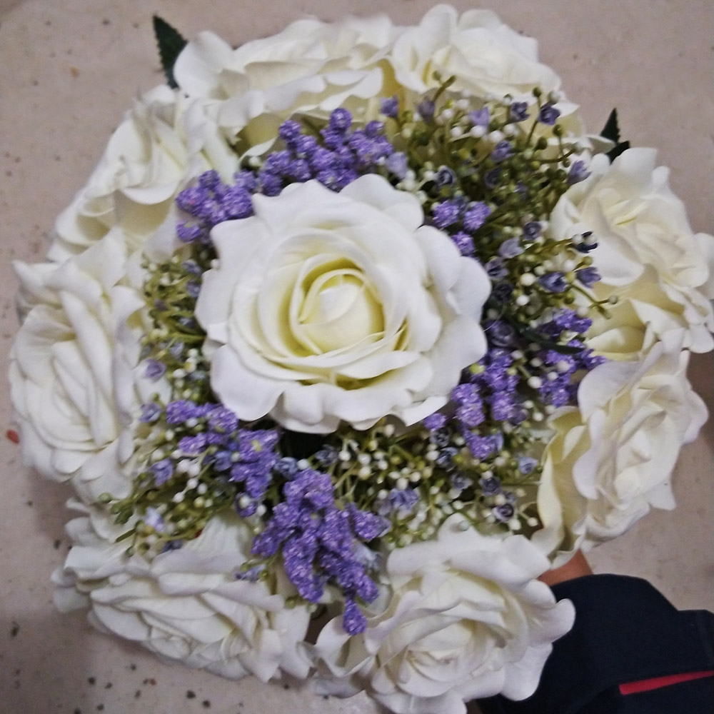 2018 real photos white purple flower wedding bouquet new bridal 2018 real photos white purple flower wedding bouquet new bridal bouquet in wedding bouquets from weddings events on aliexpress alibaba group izmirmasajfo