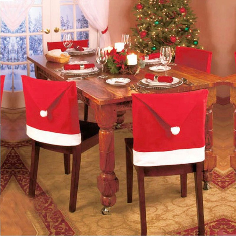 1 pcs New 65 X 50cm Christmas Hat chair cover Christmas New Year ornaments home&hotel&restaurant Decorations Free shipping