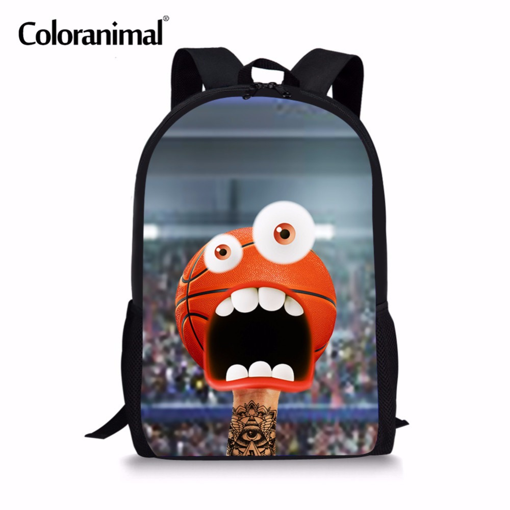 Coloranimal 3d Emoji Face Basket Ball Print Youth Boy Schoolbags Kids Mochila Infant Backpack For Children Student School Bags Lights & Lighting