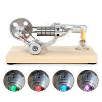 Stainless Steel Wooden Holder Mini Hot Air Engine Motor Model Educational Toy Science Experiment Kit Set For Children