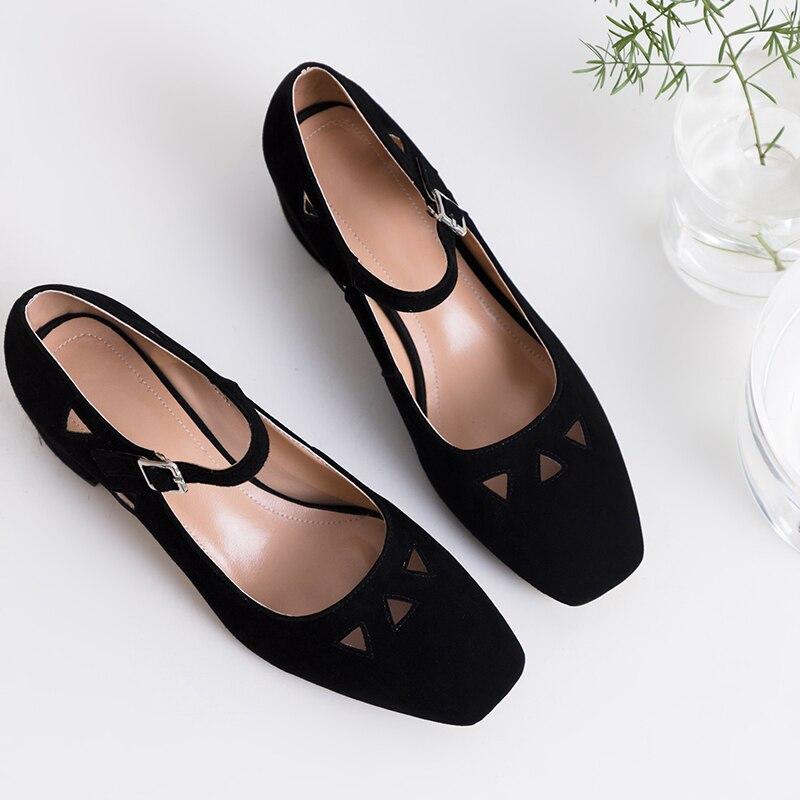 Mujer Ante Zapatos Oveja Y Mujeres Hebilla Cuadrada Nuevos Cuero Otoño Primavera De de Las De Cabeza np8wqHBq