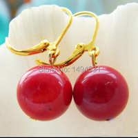 Wholesale Pearl Jewelry Real 14mm Natural Red Coral Bead Dangle Earrings
