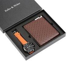 Simple Design Men Watch Leather Band Quartz Wrist Watch for Boy Boyfriend Wallet Gift Set With Coins Bag Reloj Masculino Clock